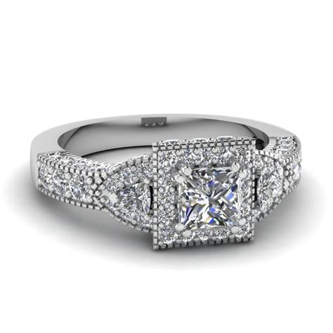 square nouveau halo engagement ring in 14k white gold fascinating diamonds