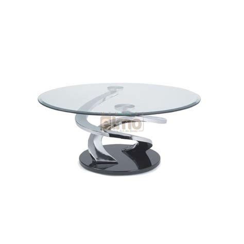 ensemble de canapé table basse design ronde verre et acier pied sculpté tornade