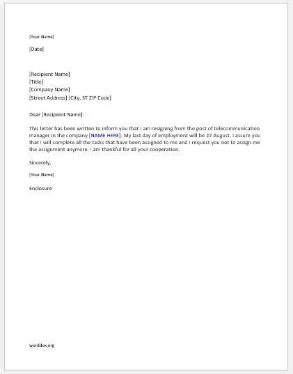 Telecommunication Manager Resignation Letter | Word Document Templates