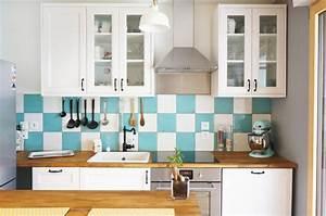 Cuisine Ikea Blanche Et Bois : notre cuisine blanche et bleue turquoise louise ~ Dailycaller-alerts.com Idées de Décoration