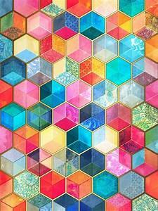 """Crystal Bohemian Honeycomb Cubes - colorful hexagon"
