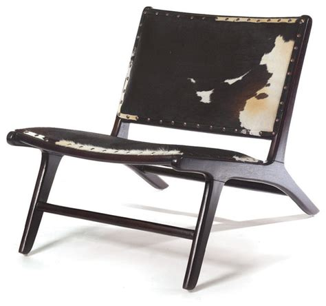 black and white cowhide modern occasional chair rustic