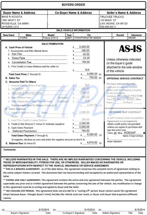 vehicle buyers order form buyers order simple