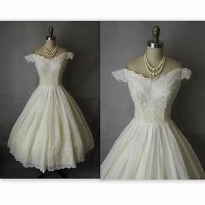 5039s wedding dress vintage 195039s embroidered With retro 50 s wedding dresses