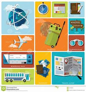 Travel And Journey Flat Icon Set Stock Vector