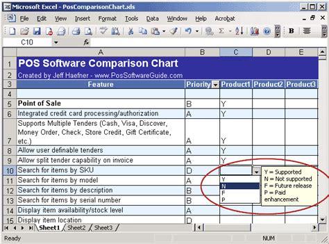 Software Vendor Comparison Template Erieairfair