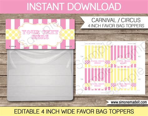 bag topper template carnival favor bag toppers cirus or carnival favors