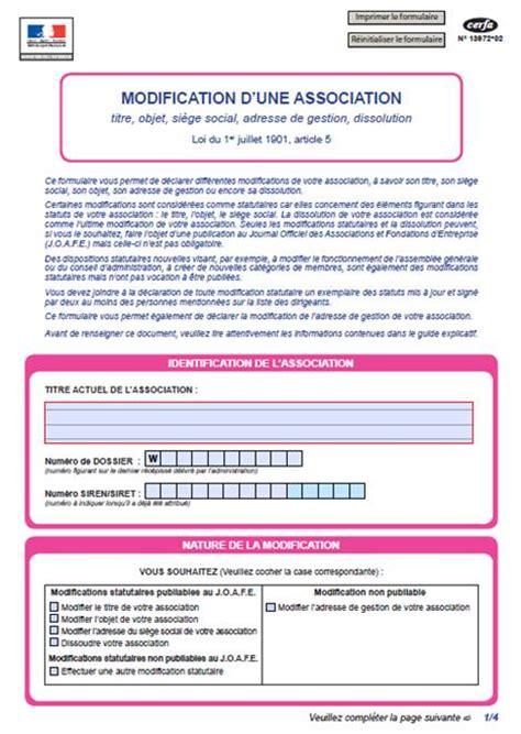 association modification bureau declaration changement bureau association 28 images le