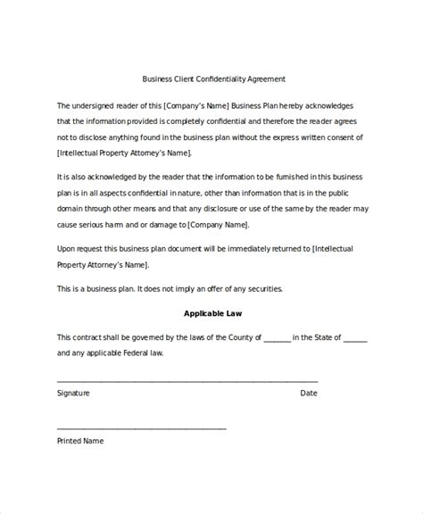 client confidentiality agreement templates