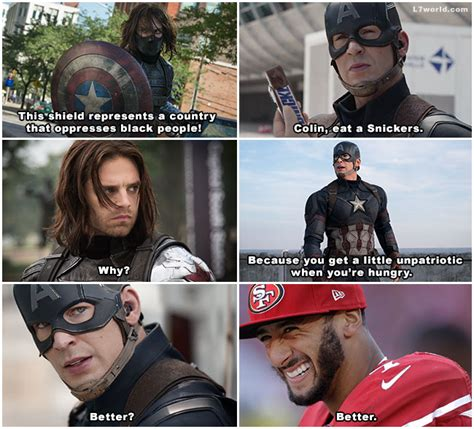 Winter Soldier Meme - colin kaepernick isn t unpatriotic he s just hungry for snickers l7 world