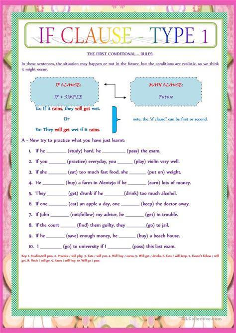 clause type  worksheet  esl printable