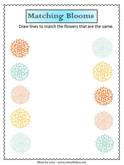 free preschool worksheets mess for less 834 | Spring printables matching blooms
