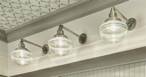 schoolhouse lighting feels right at home in vintage
