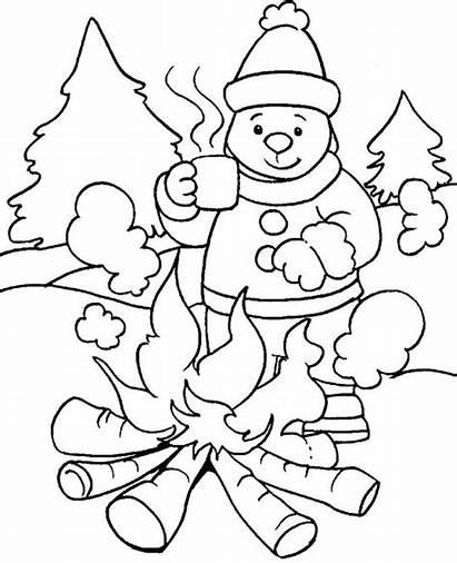 Nature Winter Season Coloring Pages Printable Drawing