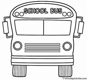 School Bus (Front) with Theme - Coloring Page (Back to School)