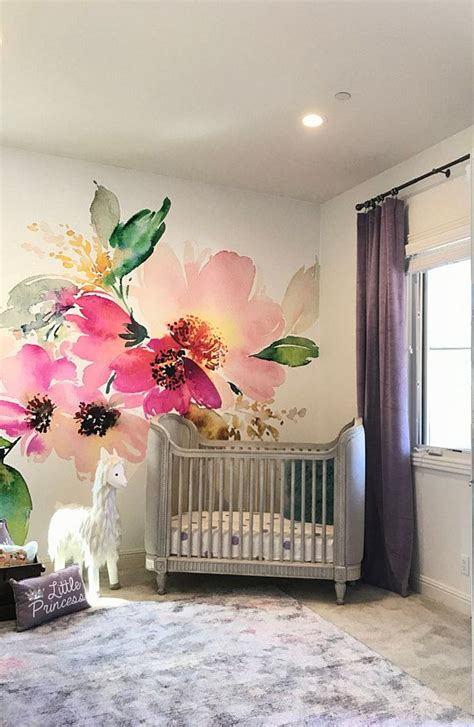 removable wallpaper mural peel stick flowers watercolor