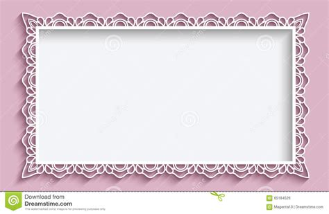 rectangle frame  paper lace border stock vector