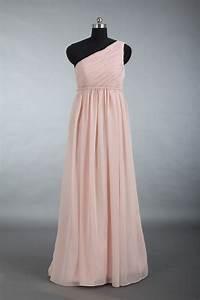 Blush Bridesmaid Dress, One Shoulder Chiffon Bridesmaid ...