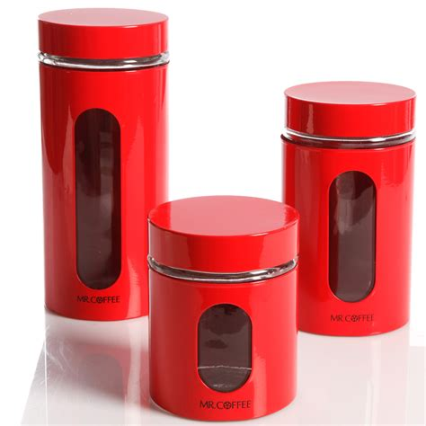 Mr Coffee Java Bar Glass Canister Set, Red