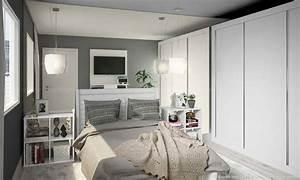 Schlafzimmer Weiß Grau : kleines schlafzimmer einrichten ideen im einklang mit den neusten trends 2017 ~ Frokenaadalensverden.com Haus und Dekorationen