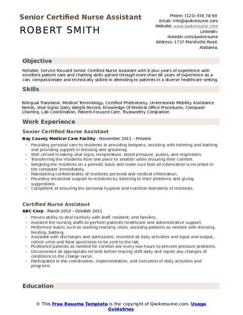 Nursing Resume Sles by Certified Assistant Resume Sles Qwikresume