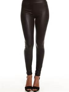 glamorous faux leather leggings in black