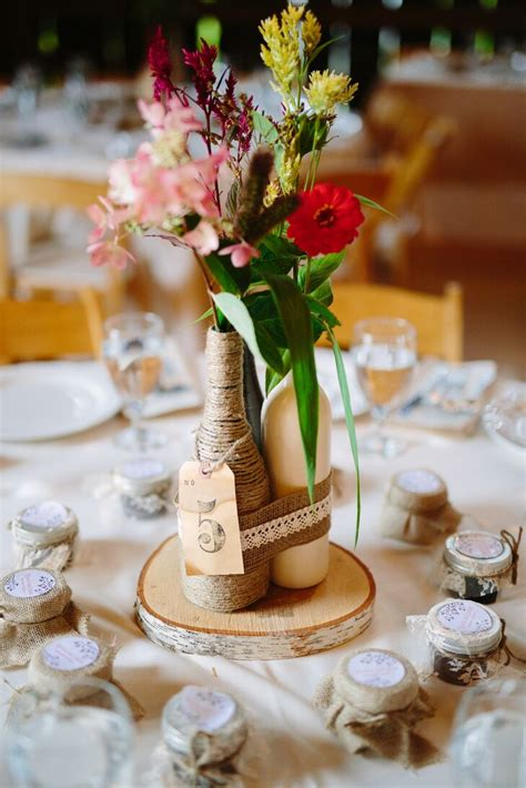 DIY Rustic Wine Bottle Centerpiece