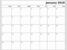 January 2019 Calendars To Print