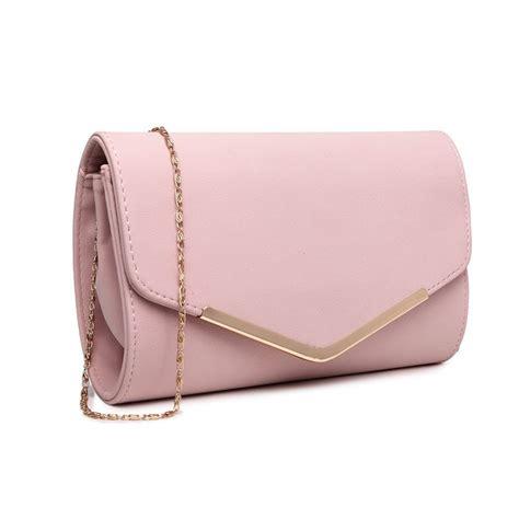 Lh1756 Pk  Miss Lulu Leather Look Envelope Clutch Bag Pink