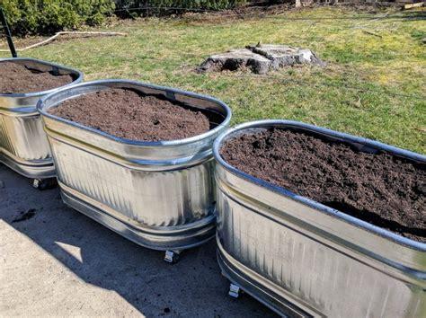 galvanized trough planters   held