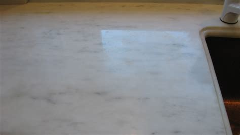 White Marble Countertop Damage Repolishing, MA