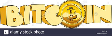 The most watched bitcoin introduction video ever. Chunky cartoon text of the word bitcoin that includes a bitcoin coin Stock Photo: 166882282 - Alamy