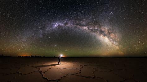 Nature Landscape Salt Lakes Milky Way Starry Night