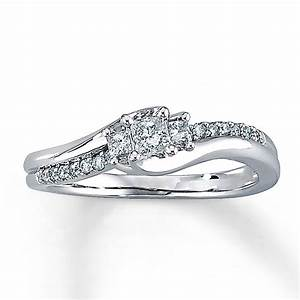 Kay diamond engagement ring 1 3 ct tw princess cut 10k for 1 ct wedding ring