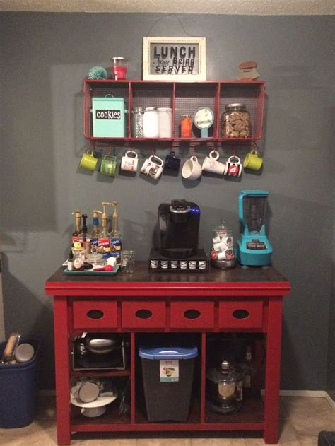 kitchen coffee bar jean anne  home red furniture redo