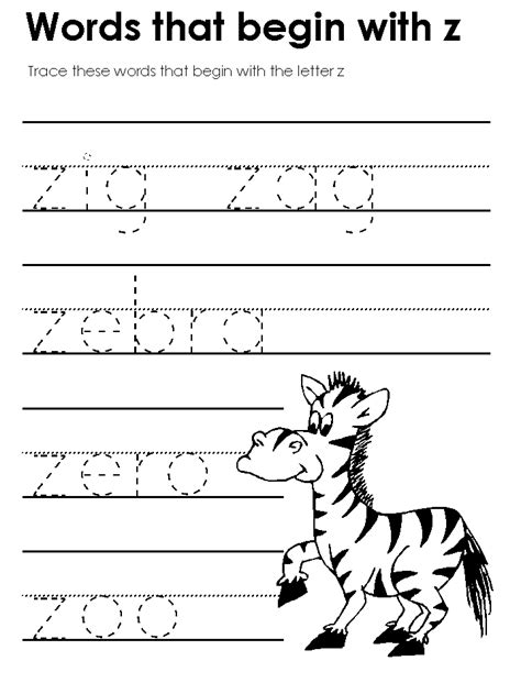 Words Letter Z Worksheets for Preschool