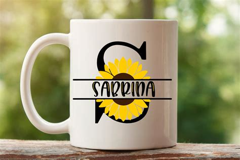 sunflower split letters    split monogram svg files  monograms design bundles