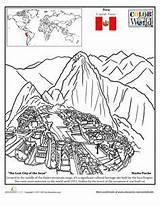 Picchu Coloring Worksheets Machu Peru Geography Worksheet Education Colouring Map Incas Inca Middle Sheet Pichu History Activities Macchu Spanish Class sketch template