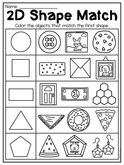 kindergarten 2d and 3d shapes worksheets preschool