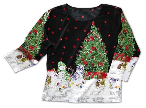 christmas tree snowman holiday sequin top ebay