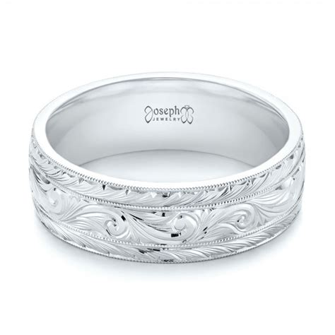 Custom Hand Engraved Men's Wedding Band #103458