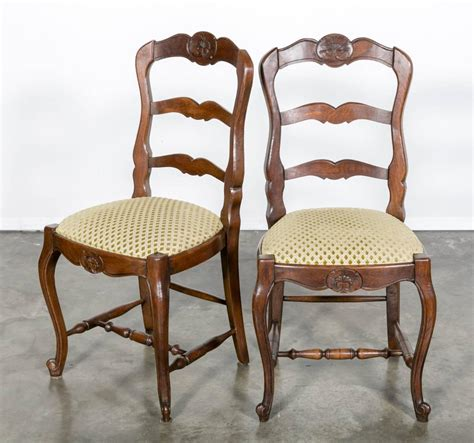 set of six country ladder back chairs with