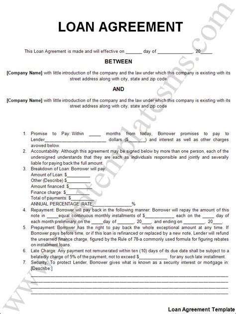 Free Printable Loan Document Form (GENERIC