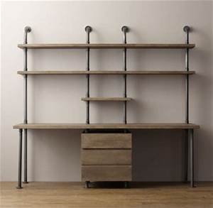 Industrial Pipe Double Desk & Shelving with Drawers