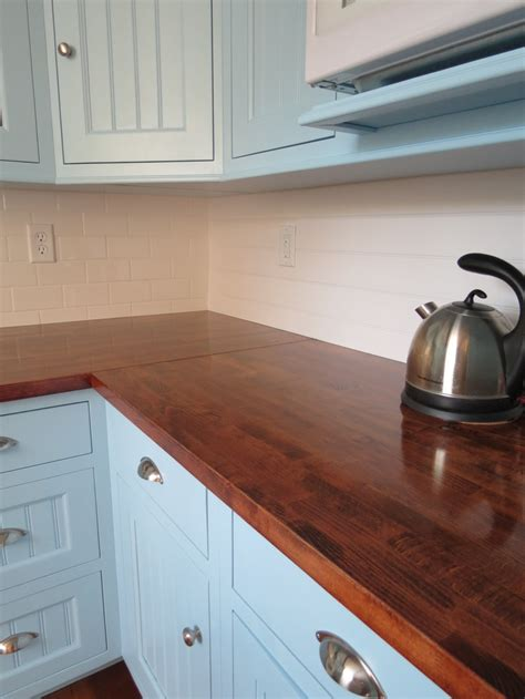 butcher block countertops  ikea sanded  stained