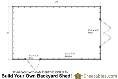 Shed Floor Plans by 12x20 Shed Plans 12x20 Storage Shed Plans Icreatables