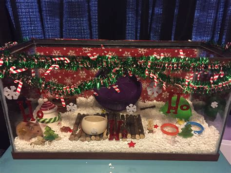 christmas themed hamster cage aquarium hamster
