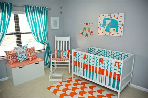 side shot   nursery  modern teal gray orange