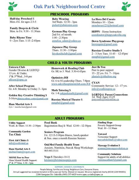 oak park neighbourhood centre 187 programs 604 | Program Flyer 2017 Updated 1