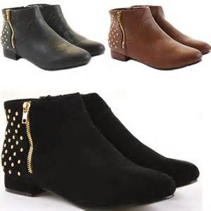 womens boots vintage style womens pixie vintage style winter low heel flat ankle boots size ebay